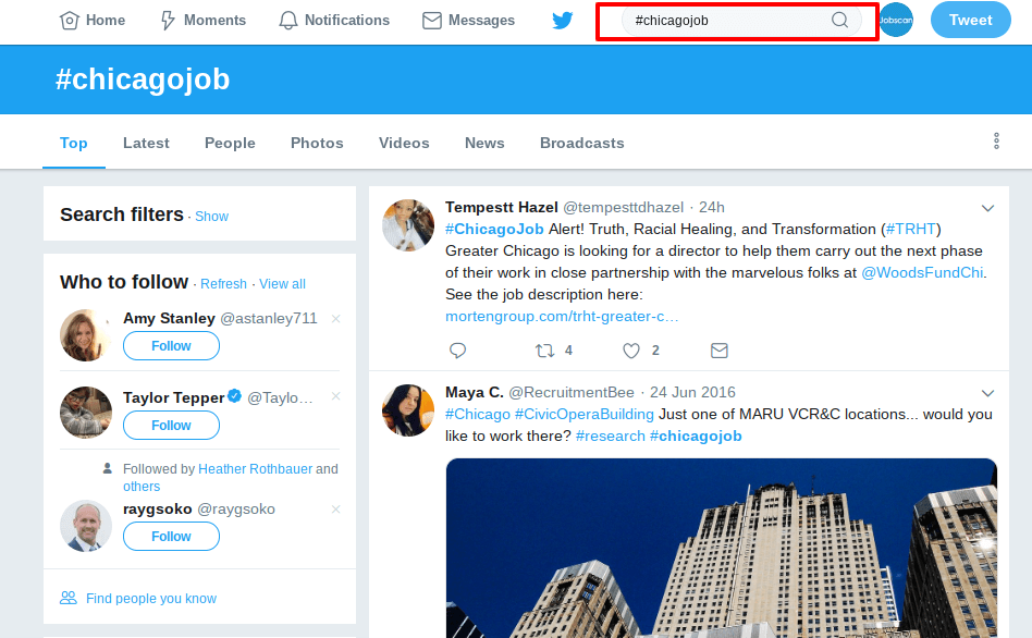 how to use twitter in your job search screenshot